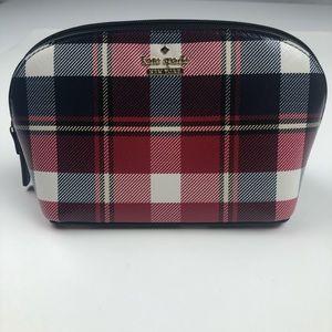 Kate Spade Plaid Cosmetic Bag New